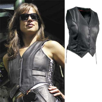 Milwaukee Motorcycle Clothing Co. Women's Deuce Black Leather Vest