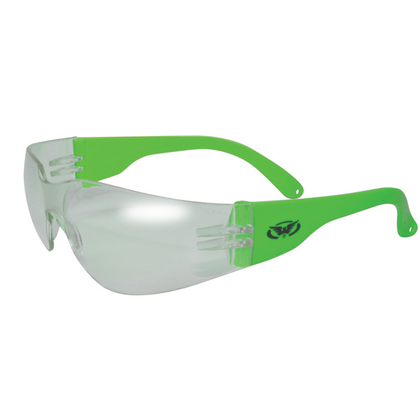 Global Vision Eyewear Rider Neon Green Frame Sunglasses with Clear Lens