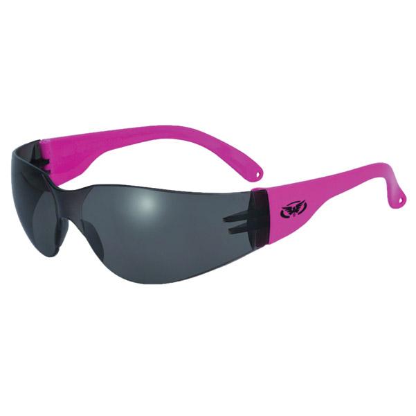 Global Vision Eyewear Rider Neon Pink Frame Sunglasses with Smoke Lens