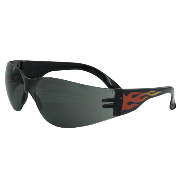 Global Vision Eyewear Rider Flame Sunglasses with Smoke Lens