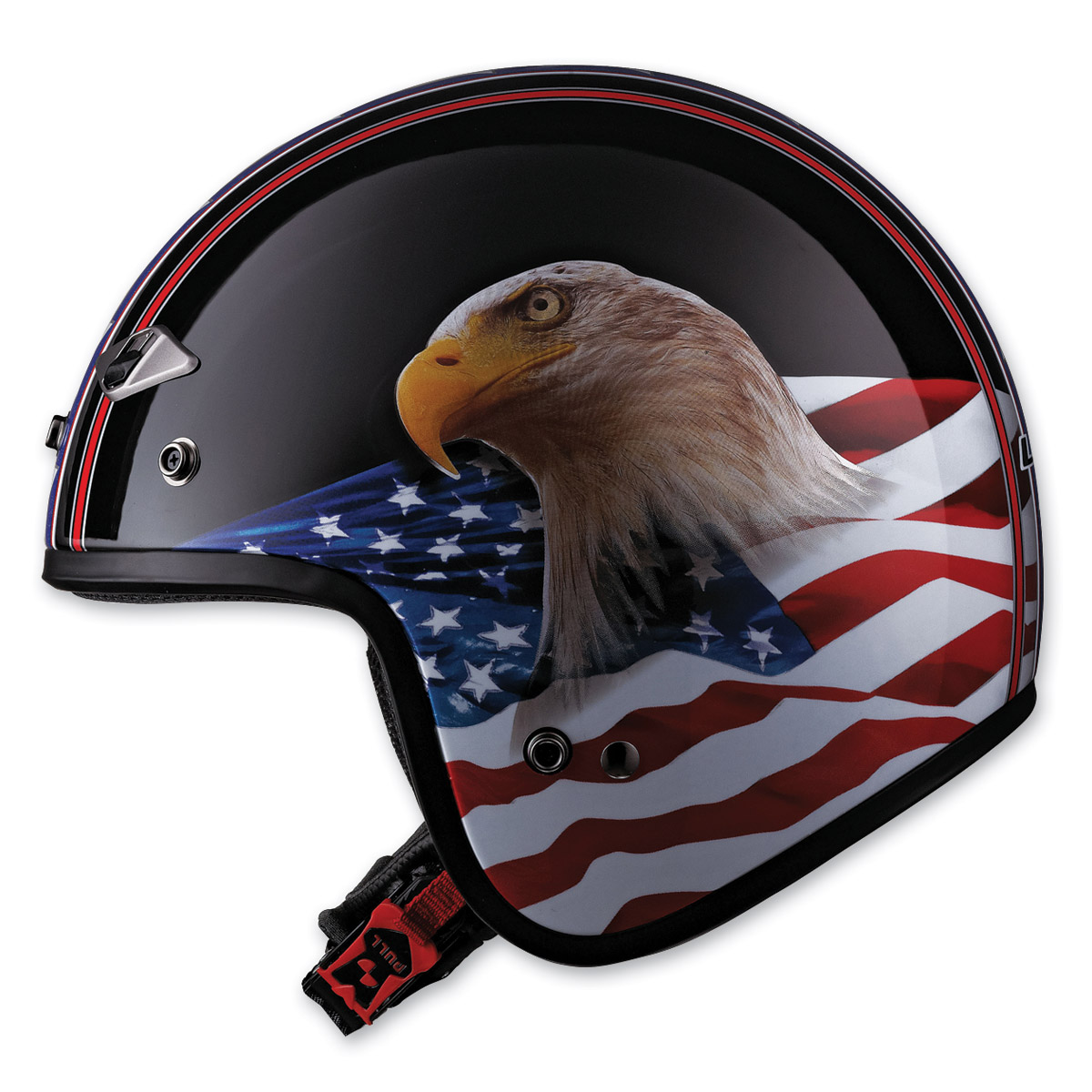 LS2 OF567 Eagle Black Open Face Helmet