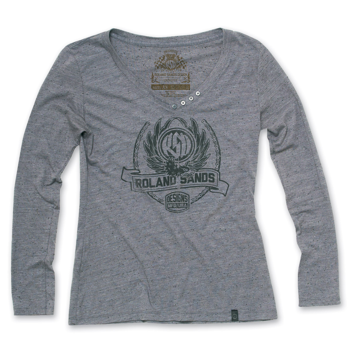 Roland Sands Design Crest Heather Gray Long-sleeved T-shirt