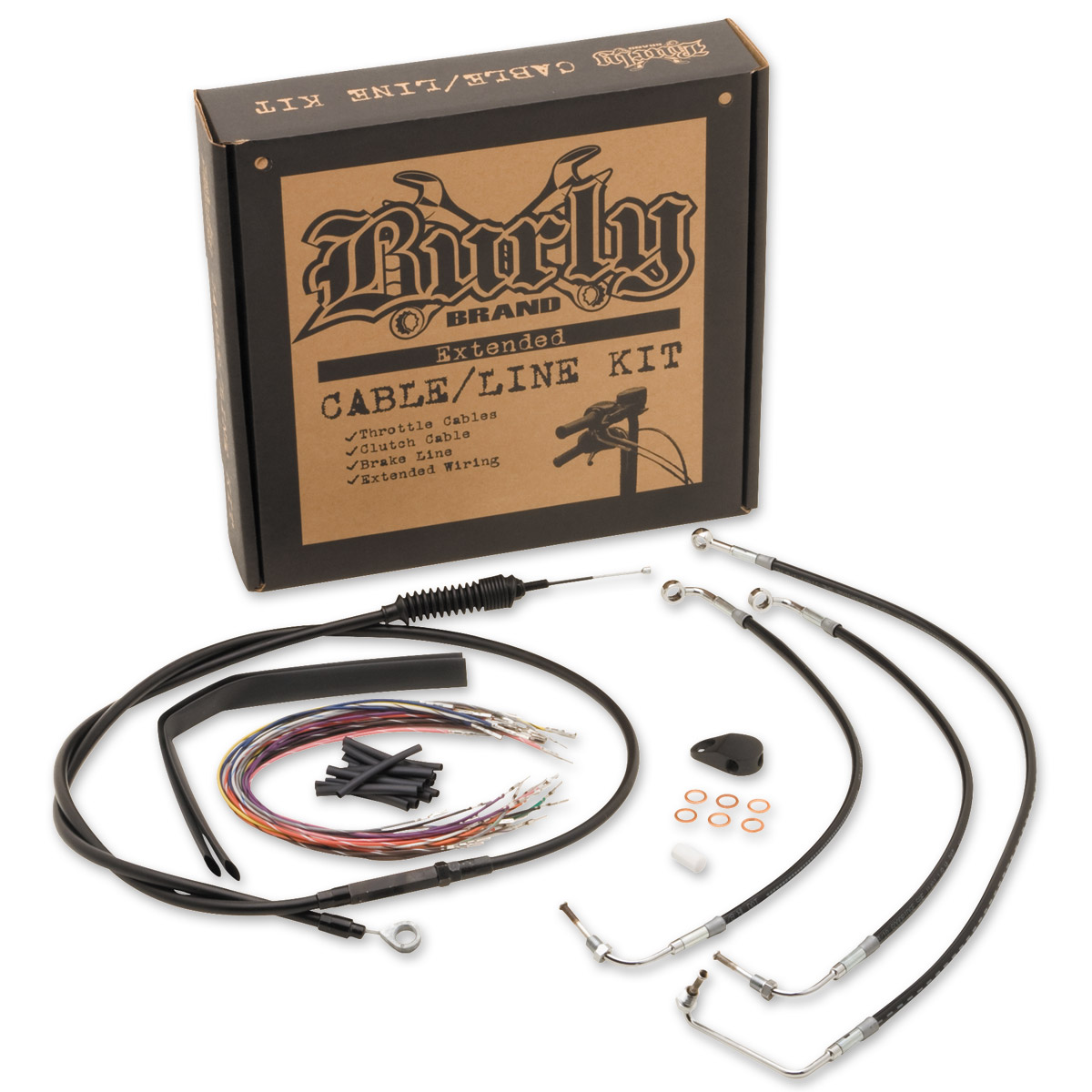 Burly Brand Black 15″ Ape Hanger Cable/Brake Kit/Wiring w/ ABS