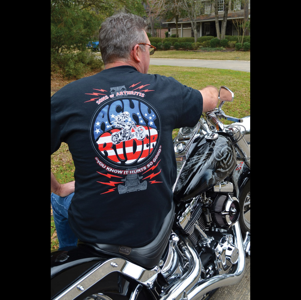Sons of Arthritis Men's Achy Rider Black T-Shirt