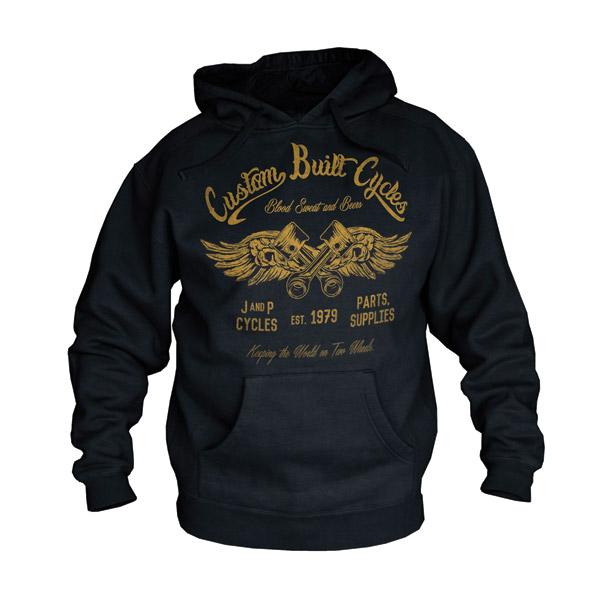 J&P Cycles® Custom Built Black Hooded Sweatshirt