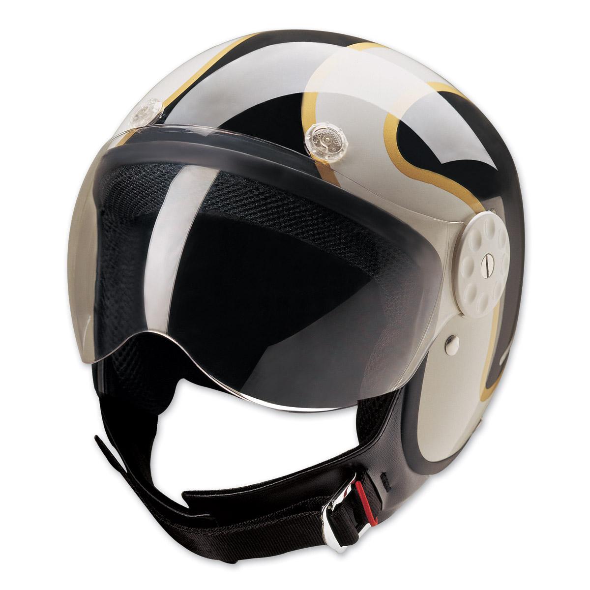 HCI-15 Stripe Black and Gold Open Face Helmet
