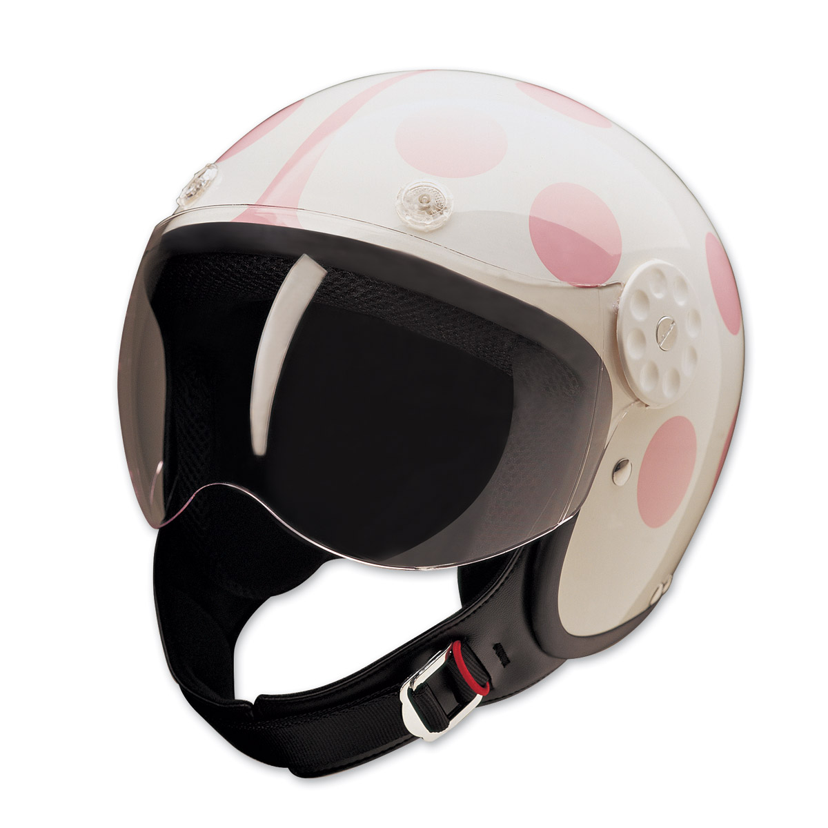 HCI-15 Lady Bug White and Pink Open Face Helmet