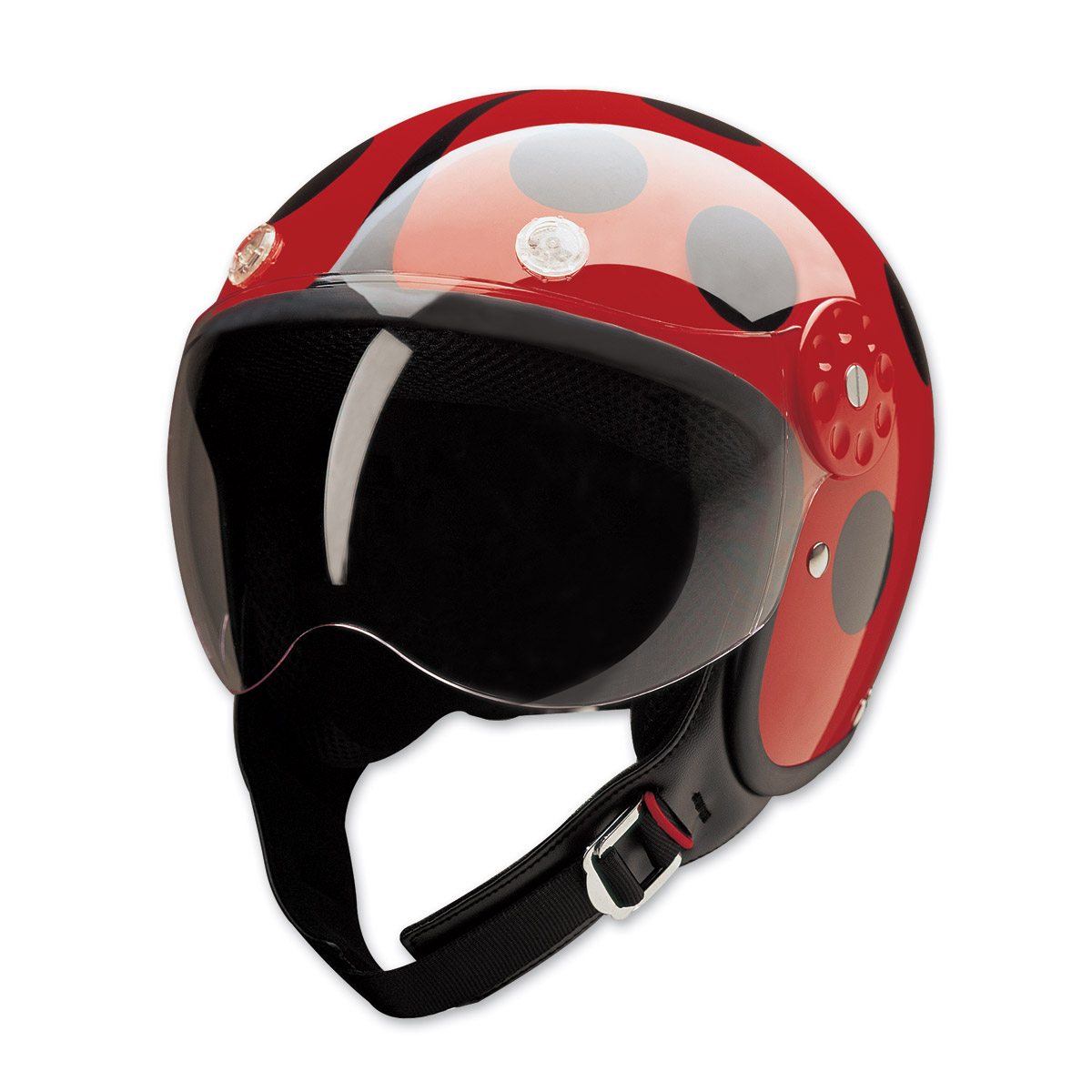 HCI-15 Lady Bug Black and Red Open Face Helmet