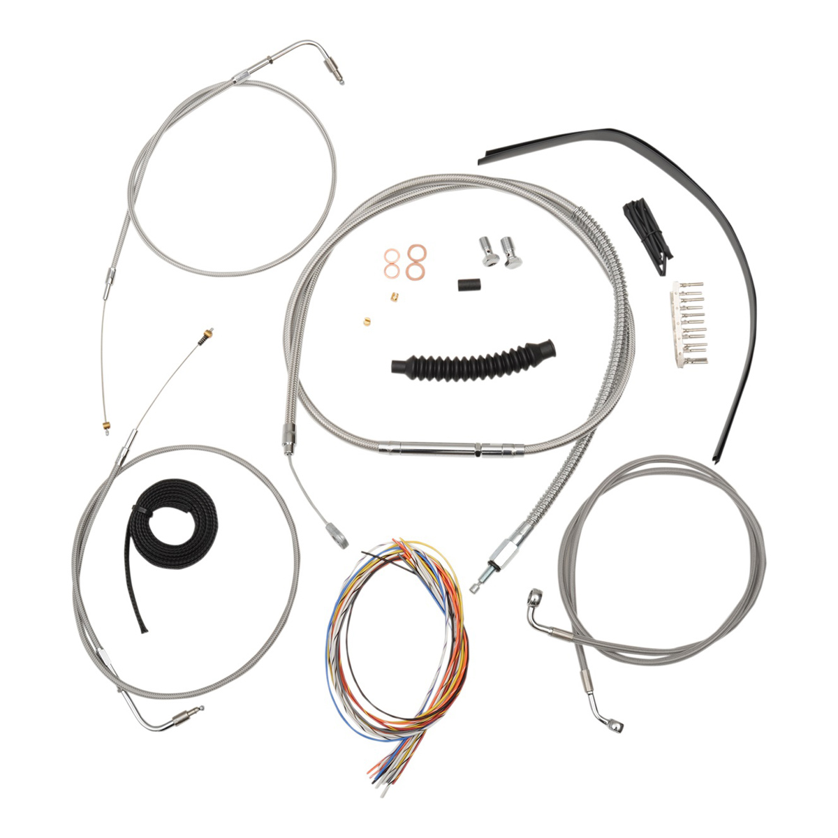 LA Choppers Stainless Complete Cable/Line/Wiring Handlebar Kit for 15″-17″ Bars on Models without ABS