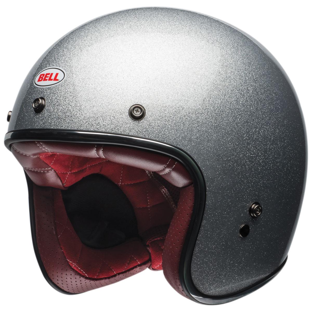 Bell Motorcycle Helmet >> Bell Custom 500 Gloss Silver Flake Open Face Helmet 7092618