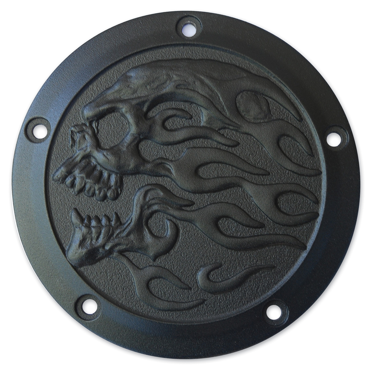 Chrome Dome Textured Black Flaming Skull Derby Cover
