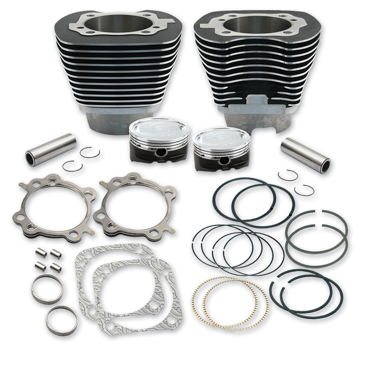 S&S Cycle 4-1/8″ Bore Cylinders & Pistons For 124″ Hot Setup Kits Wrinkle Black