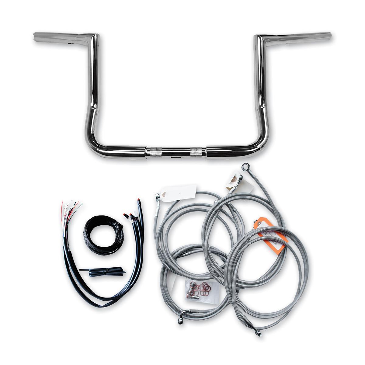 LA Choppers 1-1/4' Chrome 12' Bagger Ape Hanger Stainless Braided Handlebar Kit