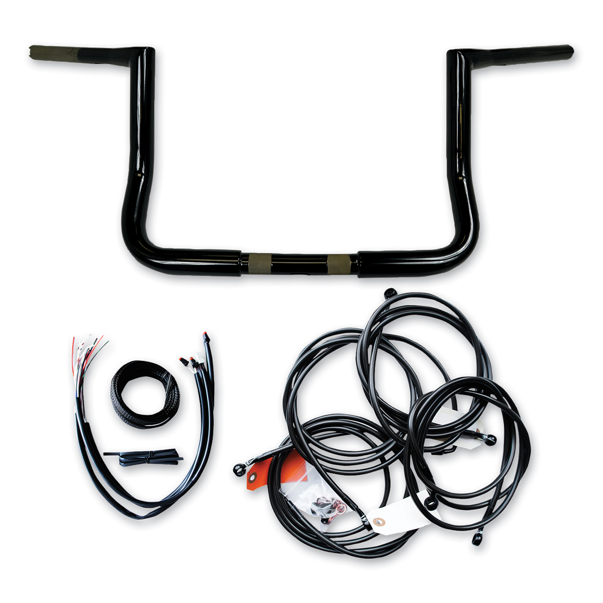 LA Choppers 1-1/4' Black 10' Bagger Ape Hanger Black Handlebar Kit