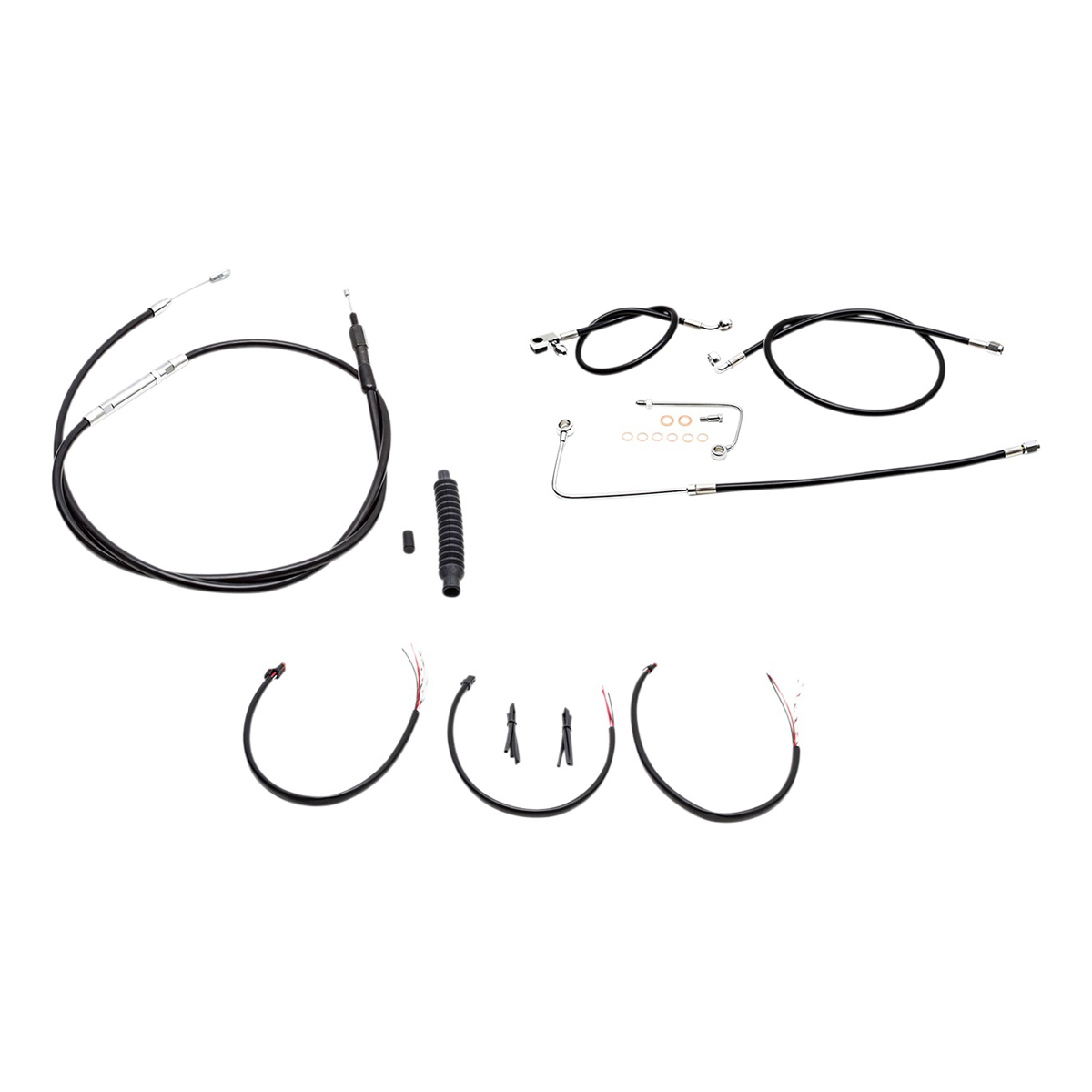 LA Choppers Black Complete Cable/Line/Wiring Handlebar Kit for 15″-17″ Bars on Models with ABS