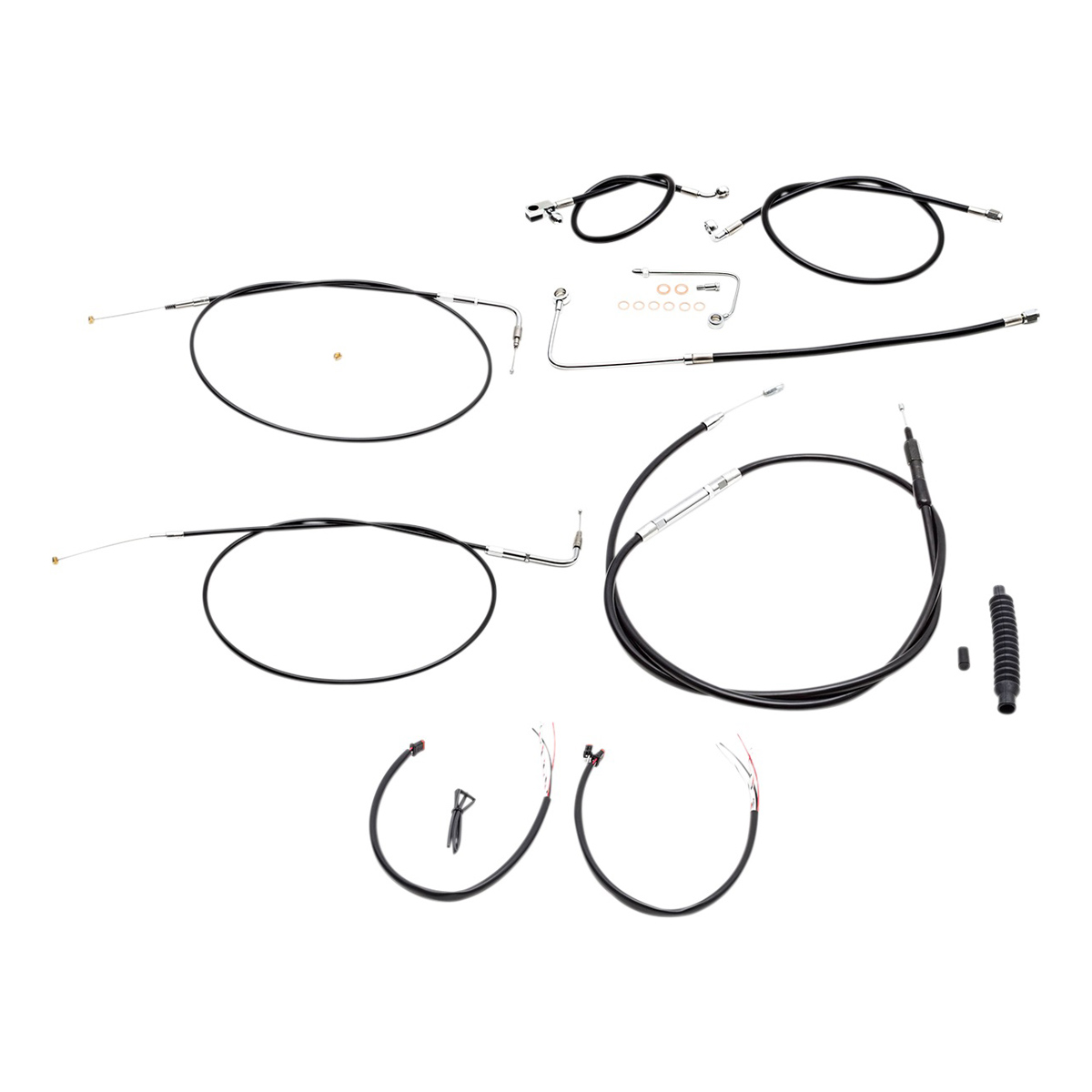 LA Choppers Black Complete Cable/Line/Wiring Handlebar Kit for 18″-20″ Bars on Models with ABS