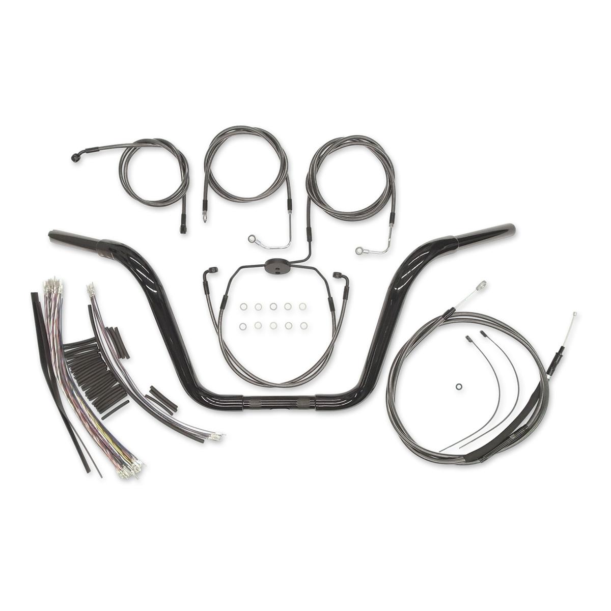 Magnum 1-1/4″ Black 16″ Caliber Ape Hanger With Install Kit