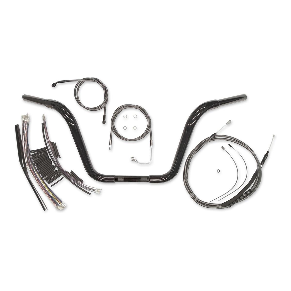 Magnum 1-1/4″ Black 14″ Caliber Ape Hanger With Install Kit