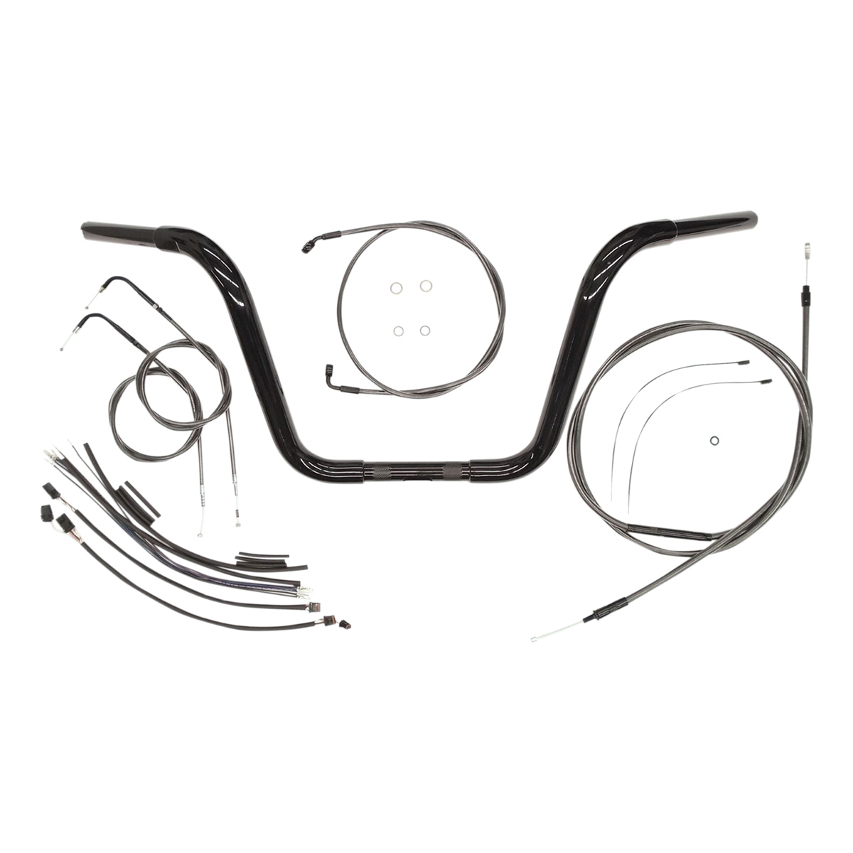Magnum 1-1/4″ Black 12″ Caliber Ape Hanger With Install Kit
