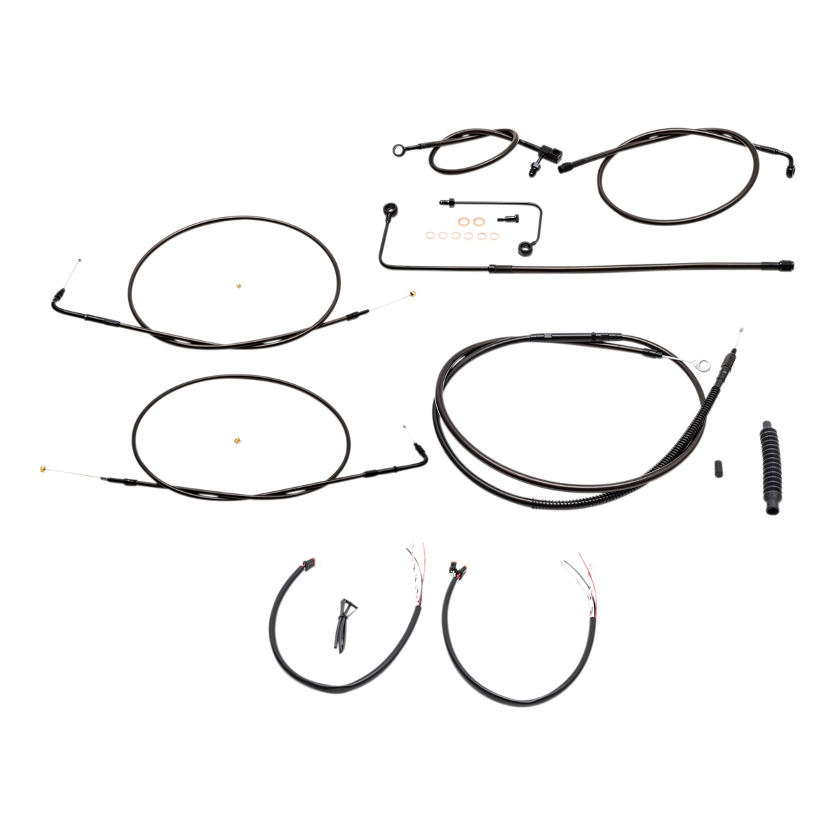 LA Choppers Midnight Complete Cable/Line/Wiring Handlebar Kit for 15″-17″ Bars on Models with ABS