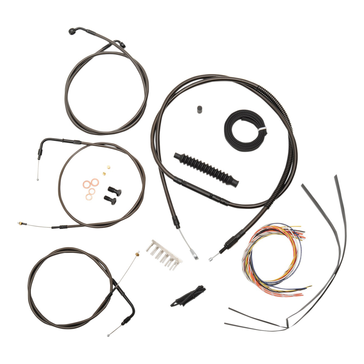 LA Choppers Midnight Complete Cable/Line/Wiring Handlebar Kit for 12″-14″ Bars on Models without ABS