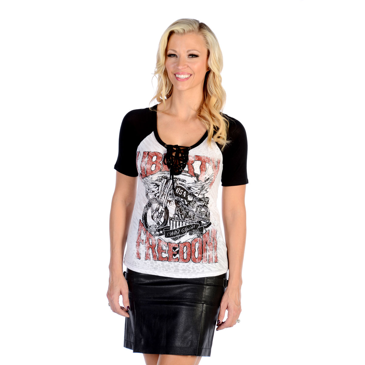 Liberty Wear Women's Liberty & Freedom White/Black Raglan Top