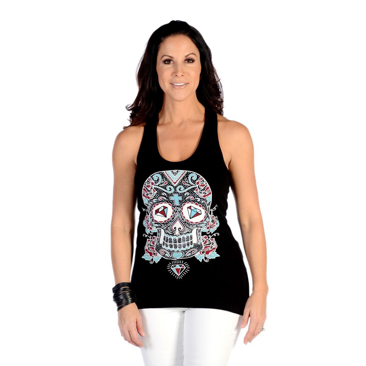 Liberty Wear Women's Diamond Eyed Calavera Black Tank Top