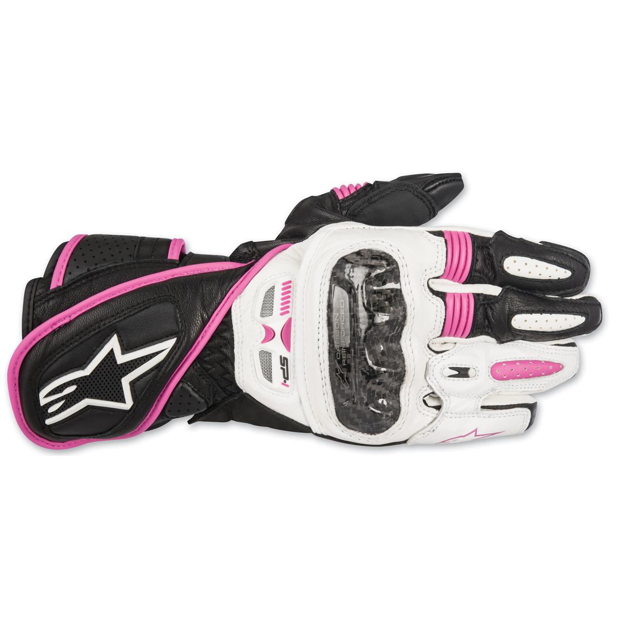 Alpinestars Women's Stella SP-1 Black/White/Purple Leather Gloves