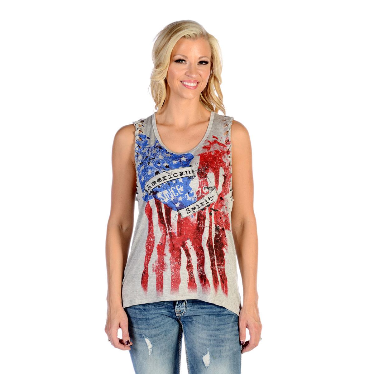 Liberty Wear Women's American Spirit Heather Gray Tank Top
