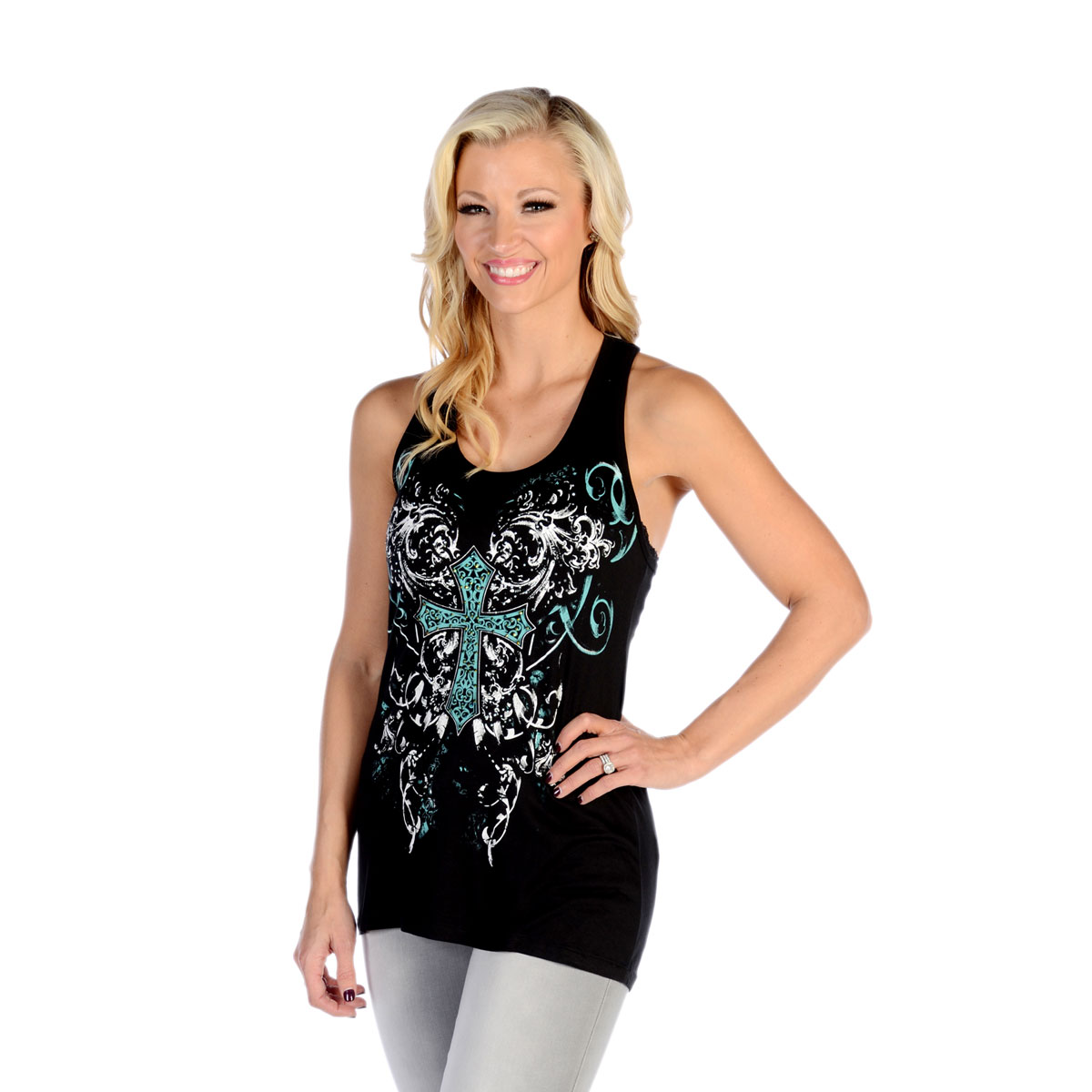 Liberty Wear Women's Bold Celtic Cross Black Tank Top