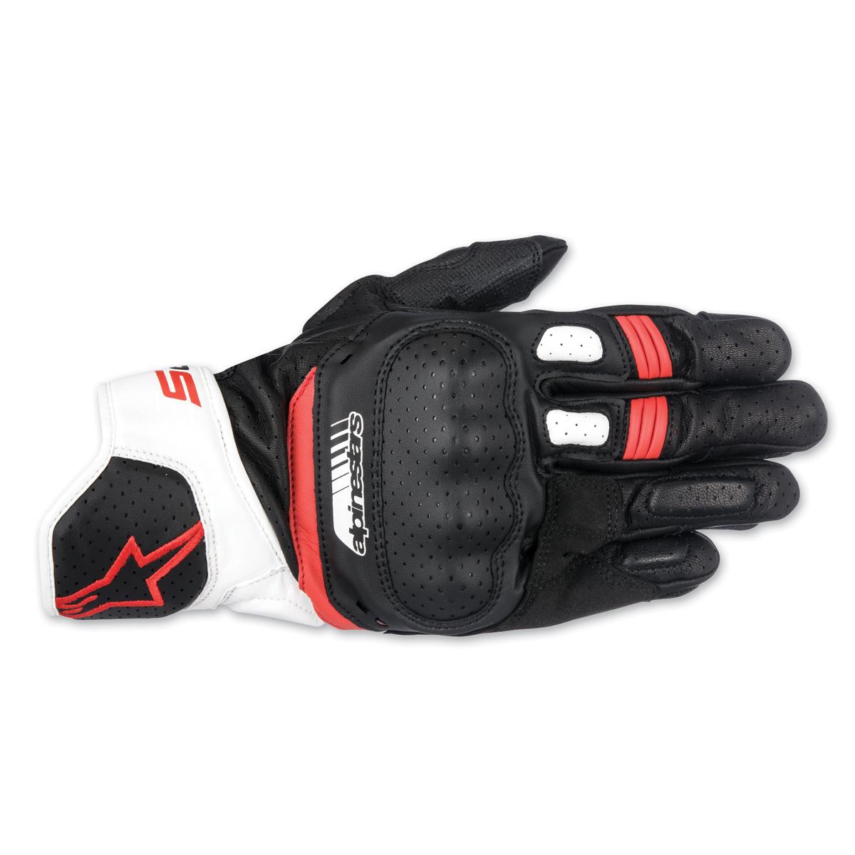 Alpinestars Men's SP-5 Black/White/Red Leather Gloves