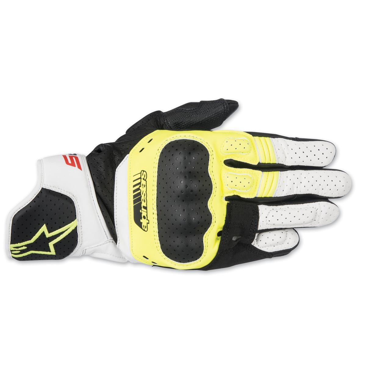 2b22bd43fde31 Alpinestars Men's SP-5 Black/Yellow/White Leather Gloves - 3558517 ...