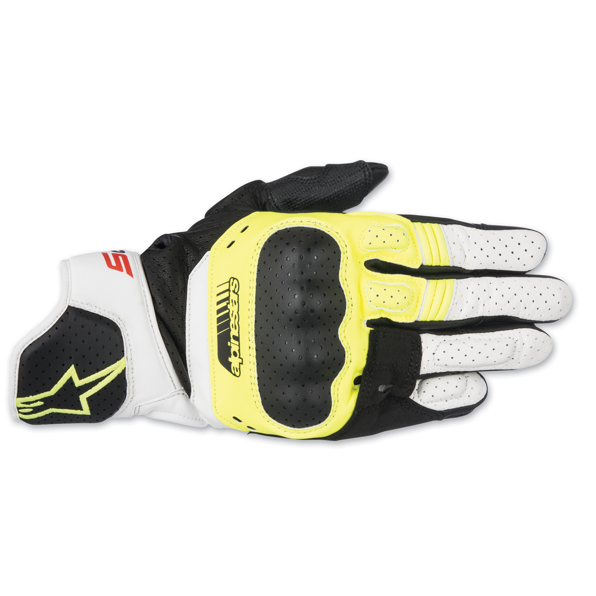 Alpinestars Men's SP-5 Black/Yellow/White Leather Gloves