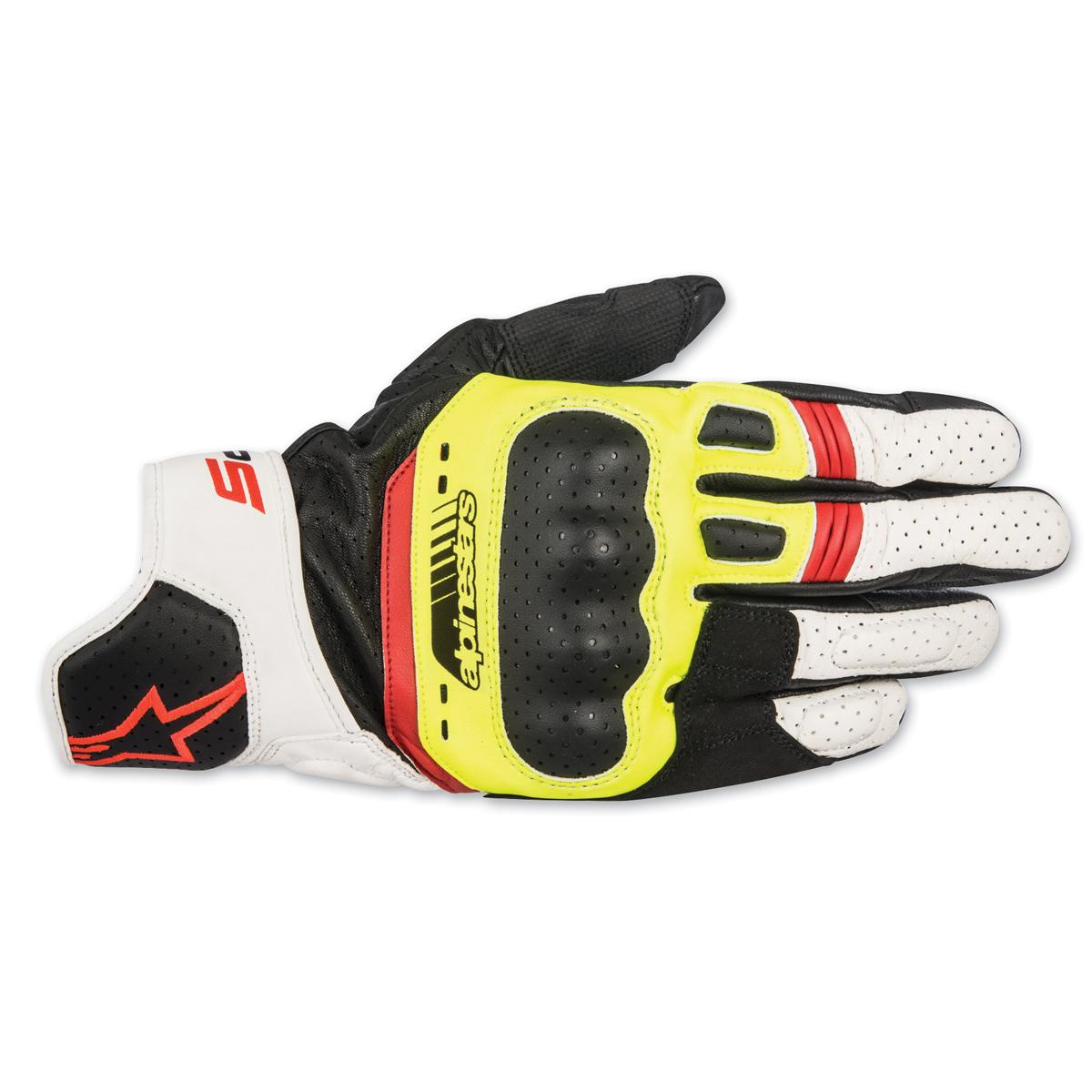 0a99d8e75a5e7 Alpinestars Men's SP-5 Black/Yellow/White/Red Leather Gloves ...