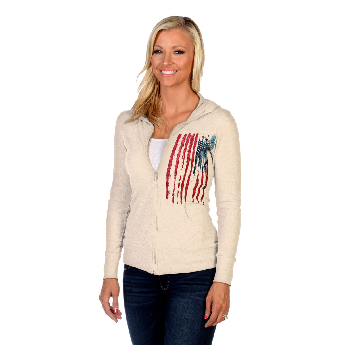Liberty Wear Women's Bleeding Old Glory Cream Hoodie