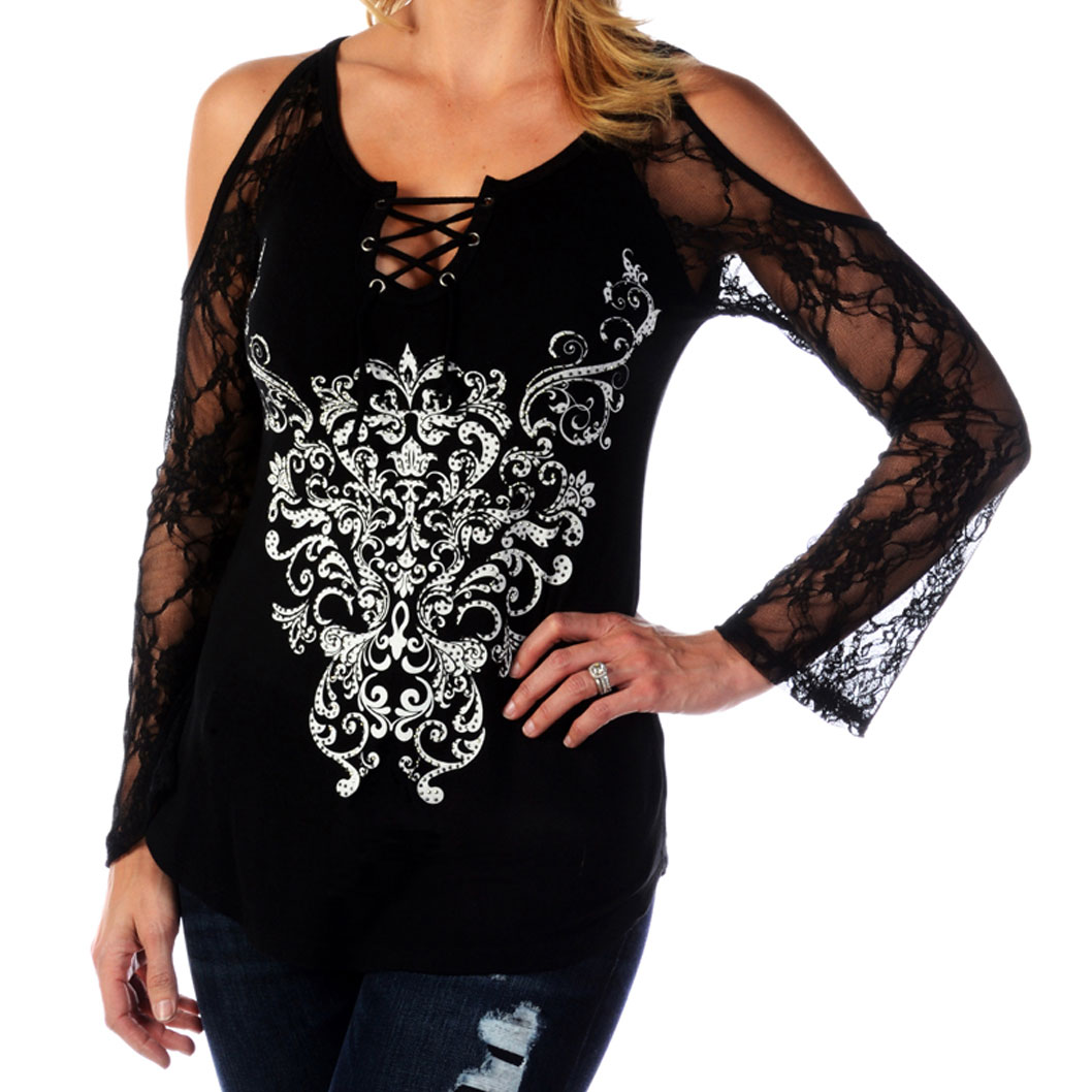 Liberty Wear Women's Bohemian Lace Scrolls Black Long-Sleeve Tunic