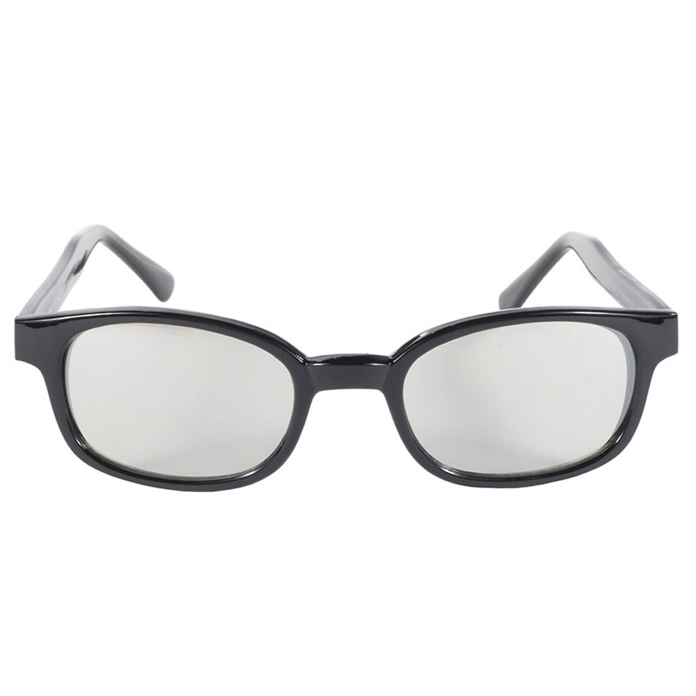 KD's Sunglasses - Black Frame with Clear Silver Mirror Lens