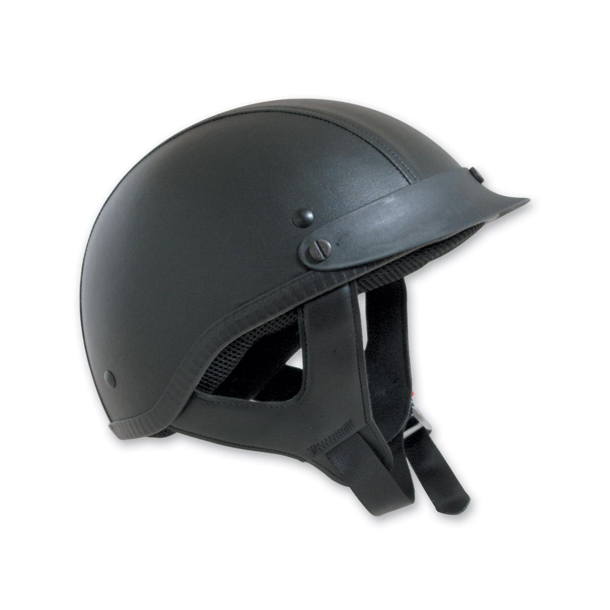 HCI-100 Designer Leather Black Half Helmet