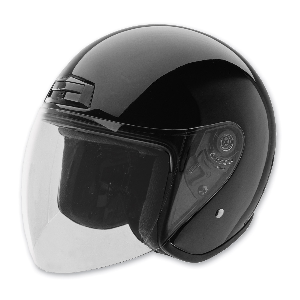 HCI-20 Black Open Face Helmet with Shield