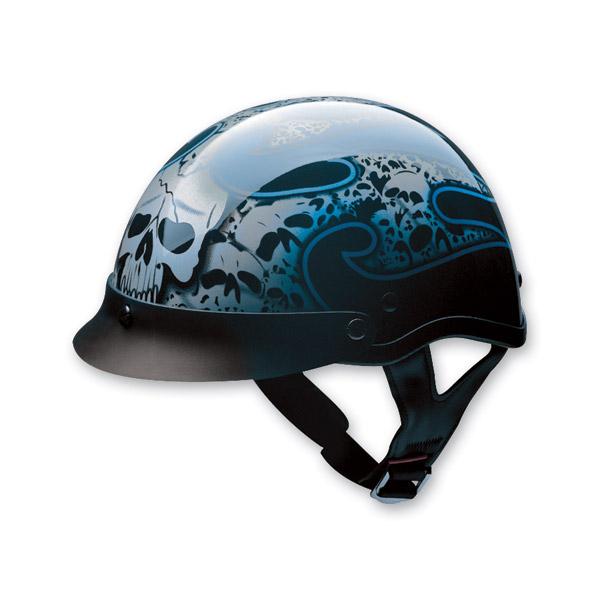 HCI-100 Designer Tribal Skull Blue Half Helmet