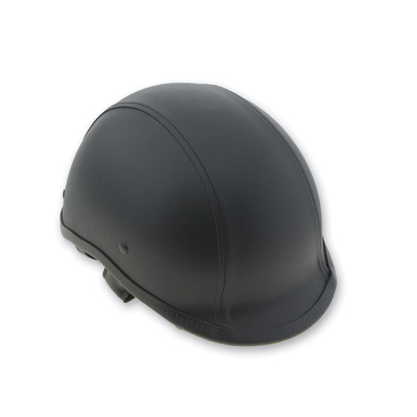 HCI-105 Designer Polo Leather Black Half Helmet