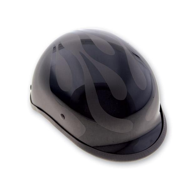 HCI-105 Designer Polo Flat Black Flames Half Helmet
