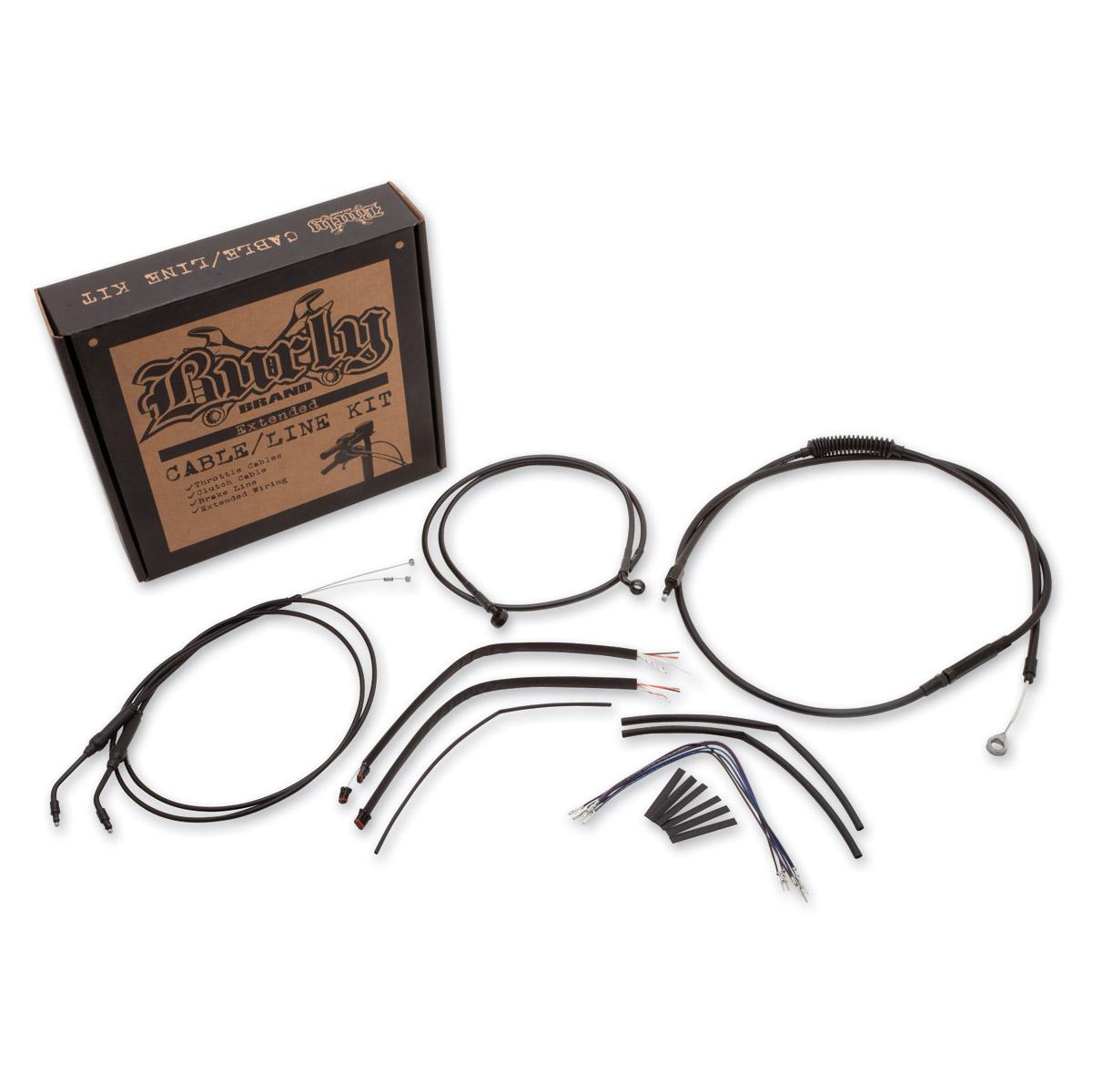 Burly Brand Black 12″ Ape Hanger Cable/Brake Kit