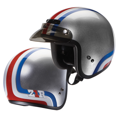 Z1R Jimmy Clyde Silver, Red, White and Blue Open Face Helmet