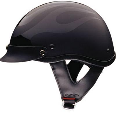 HCI-100 Designer Flat Flame Black Half Helmet