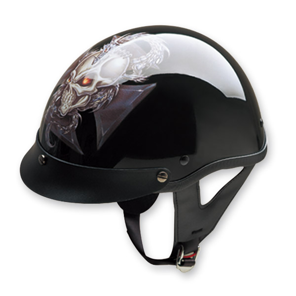 HCI-100 Designer Dragon Cross Black Half Helmet