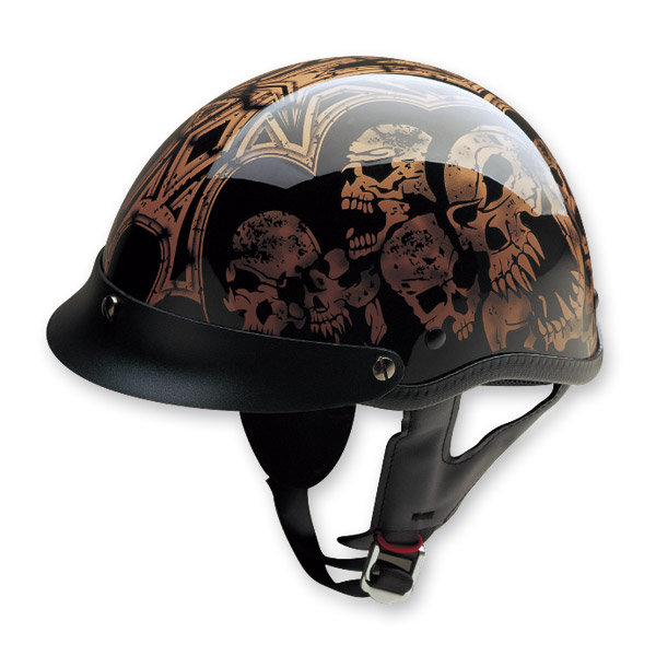 HCI-100 Designer Screaming Skulls Gold Half Helmet