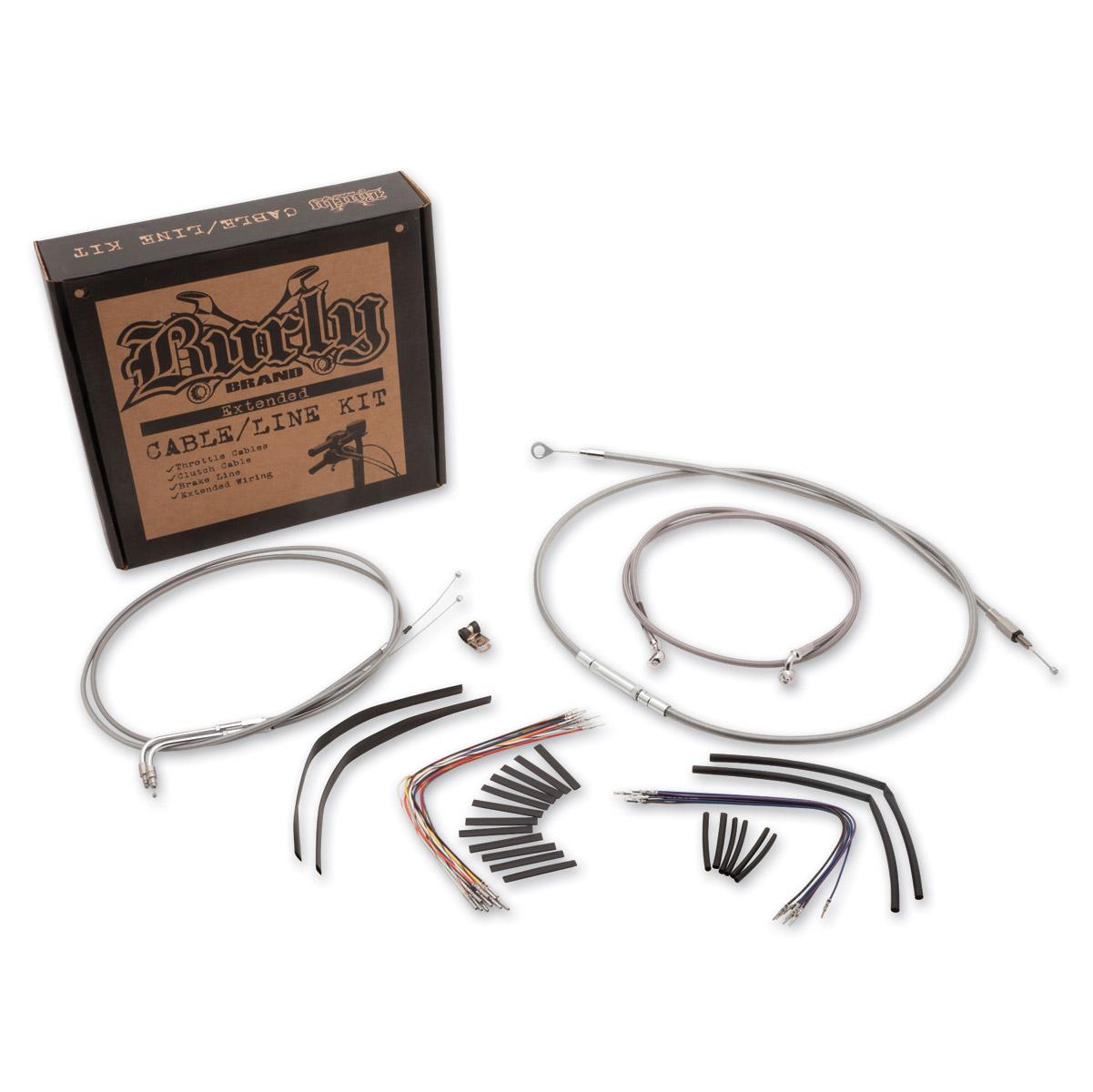 Burly Brand Braided Stainless 18″ Ape Hanger Cable/Brake/Wiring Kit
