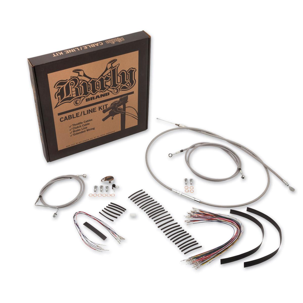 Burly Brand 16″ Braided Stainless Ape Hanger Cable/Brake/Wiring Kit