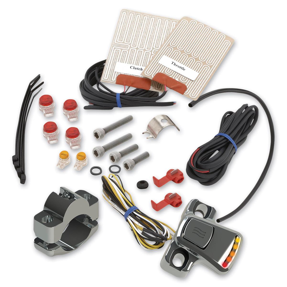 Heat Demon Chrome External Grip Warmer Kit for Metric Models